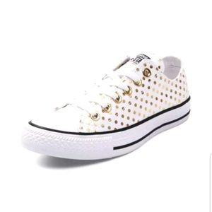 Converse Shoes - 🆕️NIB RARE White & Gold Polka Dots Converse Sz 12
